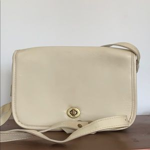 Vintage Coach cream leather cross body bag